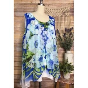 Avenue Blue Floral White Sleeveless Printed Top
